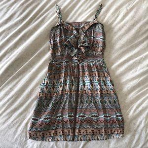 Fun-Patterned Zipper Summer Dress